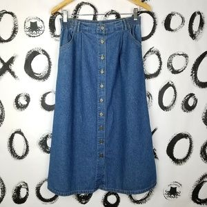 Vintage 90s Denim Midi Skirt Button Front Pockets